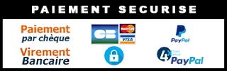 Paiement par Visa, Mastercard, PayPal, Virement bancaire, Chèque